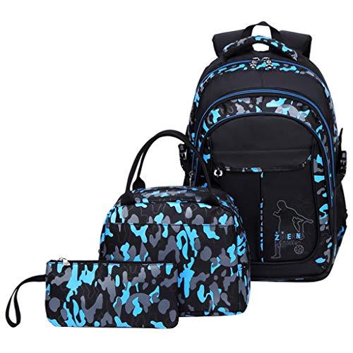 Schulrucksack Jungen Teenager, Kinderrucksack Camouflage Rucksäcke Jugendliche Jungen Mädchen 3-In-1 Schulranzen für Schule(Blau)