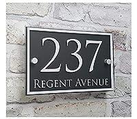 カスタムドアプラーク現代住宅住所番号サインネームプレートアクリルガラス効果ハウス番号(色:a) (Color : B)