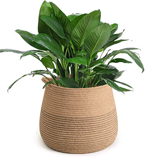 CHICVITA Jute Belly Plant Basket Woven Organizer for Storage Laundry Picnic Plant Pot Cover
