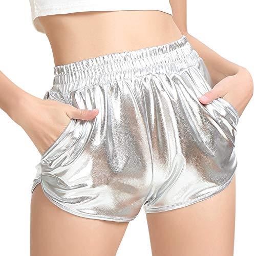 PESION Women's Metallic Rave Shiny Shorts Booty Hot Yoga Dance Disco Pants, Silver Medium