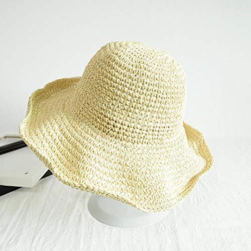 ZLLCYY Der Sonnenhut schützt die Sonne vor ultravioletten Strahlen.Der beige gewebte Hut hat eine kleine Krempe, die für eine einfache Tragbarkeit gefaltet Werden kann.