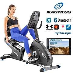 Nautilus leżący R626 z ergometrem odchylanym systemu hamulcowego PMS, Bluetooth, kompatybilny z RideSocial, bezprzewodowy pomiar tętna, wyświetlacz Bluebacklit DualTrack, maks. waga użytkownika 136 kg