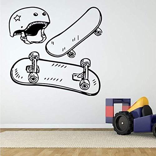 Skateboard Helm Poster Muurstickers Kwekerij Kids Kamer jongen Muurstickers Woonkamer Home Art muurschildering Vinyl Decoratie 57 * 57C m