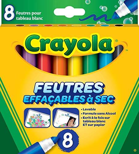 Crayola - 8 Feutres à colorier effaçables (pointe large) - boîte française - Loisir créatif - feutres et accessoires fantaisies - à partir de 3 ans - Jeu de dessin et coloriage