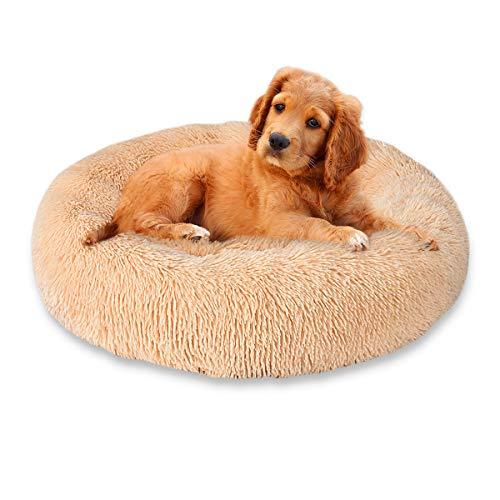 Cozywind rundes Haustierbett für mittelgroßen Hund und EIN Paar Katzen Hellbraun Warmes Kissen oder deluxes Bett mit Weichen Plüsche in Doughnut-Form (70CM, Hellbraun)