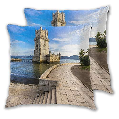 CONICIXI 2 Pack Kissenbezüge Torre von Belem - berühmtes Wahrzeichen von Lissabon Portugal Quadratische Kissenhüllen für das Wohnzimmer-Sofa, Schlafzimmer 30cm x 30cm