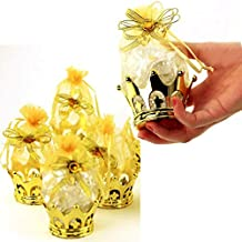 JC HUMMINGBIRD 24PC Gold Crown Pouch Fillable for Candies, Table Decorations, Party Favors, Keepsake, Baby Shower