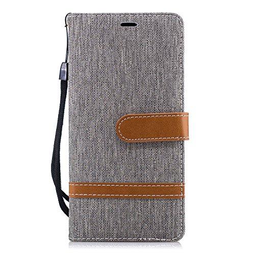 Hülle für Nokia 3.1 Handyhülle Schutzhülle Leder PU Wallet Bumper Lederhülle Ledertasche Klapphülle Klappbar Magnetisch für Nokia3.1 - ZIBF031049 Grau
