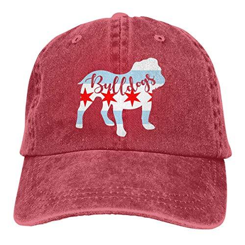 Kling Einstellbare garngefärbte Denim-Baseballmützen für Herren oder Damen Chicago Flag Bulldog Dad Hat