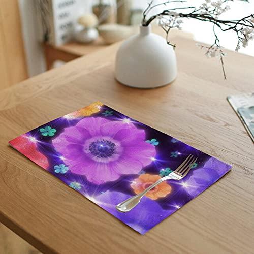 HUAYING Juego de manteles individuales étnicos retro 42 x 32 cm púrpura flor azul colorido floral cocina restaurante servilleta decoración taza té café occidental pad