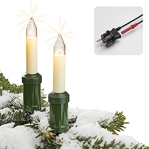 Hellum Lichterkette Weihnachtsbaum Made-in-Germany Christbaumbeleuchtung Kerzen Lichterkette außen mit Clip 20 Lichter beleuchtete Länge 1900cm, Kabel grün Schaft elfenbeinfarben, Außen Stecker 845501