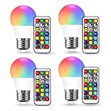 JandCase A15 Color Changing LED Bulbs, RGB+Warm+Daylight White(17 Color Choices), 3W Dimma...