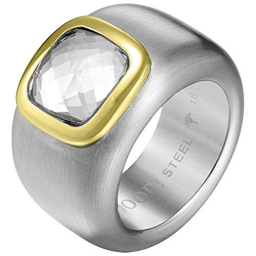 Joop! Damen-Ring Edelstahl Zirkonia weiß Quadratschliff Gr. 56 (17.8) - JPRG10629C190
