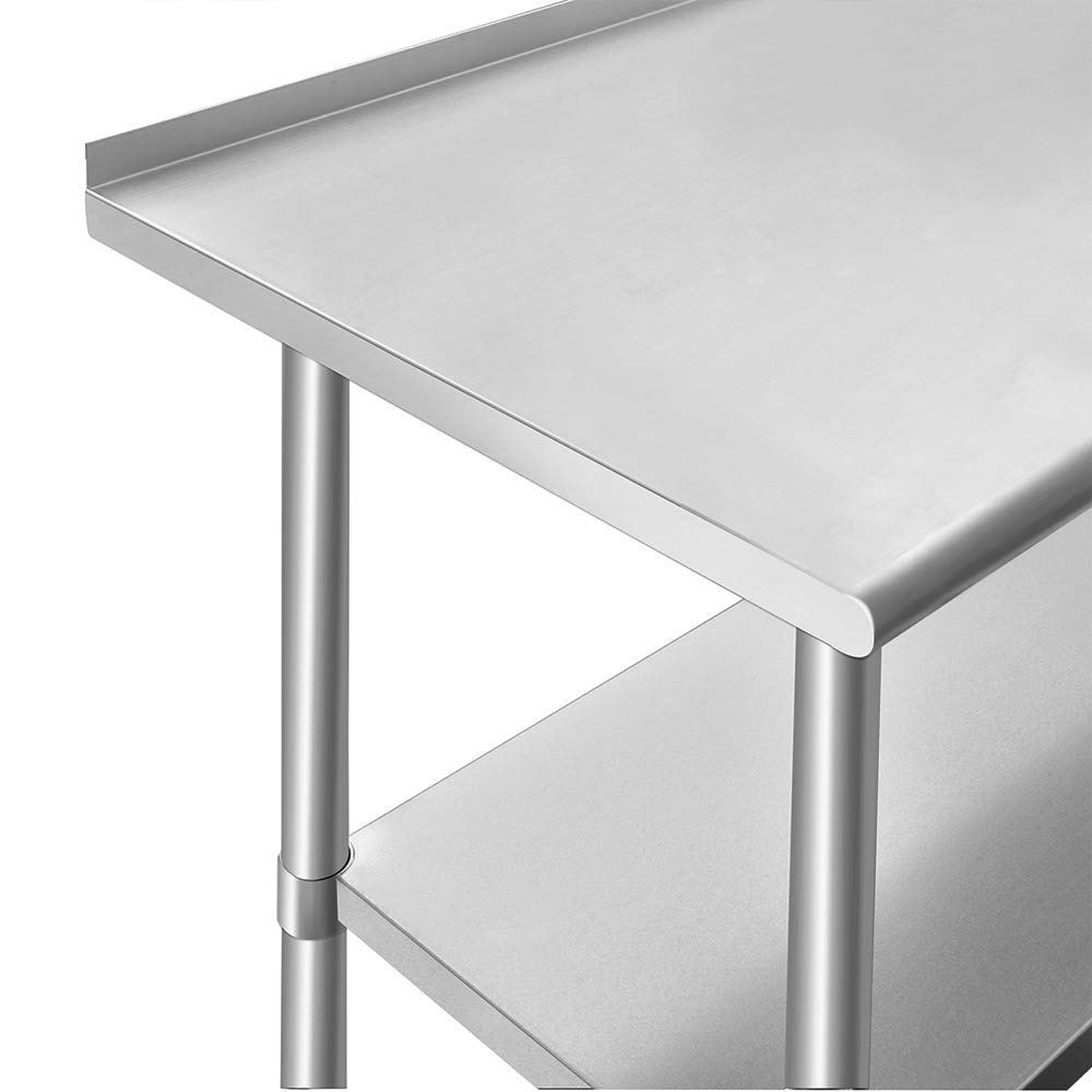 ROCKPOINT Stainless Steel Table for Prep & Work with Backsplash 48x24 Inches, NSF Metal Commercial Kitchen Table with Adjustable Under Shelf and Table Foot for Restaurant, Home and Hotel