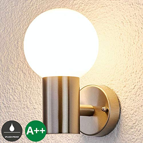 Lampenwelt Wandleuchte außen 'Tomma' (spritzwassergeschützt) (Modern) in Alu aus Edelstahl (1 flammig, E27, A++) - Außenwandleuchten, Wandlampe, Außenlampe, Wandlampe für Outdoor & Garten