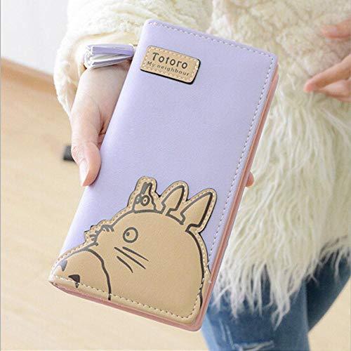 SWVV Anime Totoro Reißverschluss Cartoon Mode Frauen Lange Brieftasche Geldbörse Handtasche Geschenk, Lila