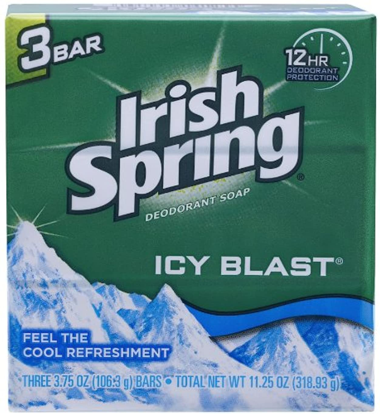 フェッチはぁ広告主Irish Spring IcyBlast Cool Refreshment Deodorant Soap 113 g 3-Count Soap by Irish Spring