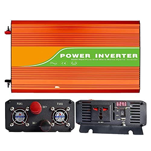 FHISD Inversor de Corriente Onda sinusoidal Pura, DC 12V 24V a AC 220V Transformador convertidor de Voltaje con Pantalla LED, Transformador con Puerto USB y Tomas de