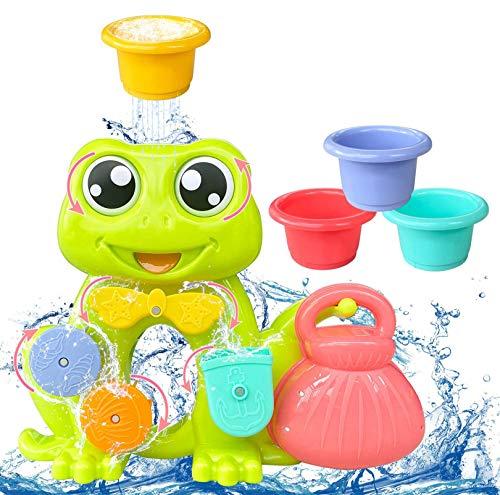 AOLUXLM Pool Spielzeug ab 1 Jahr, Badespielzeug Baby,Wasser Spielzeug Badwanne für Kleinkinder mit 4 Spielzeugbecher, Augen bewegenedes Frosch Design Wasserrad mit Saugnäpfen, Geschenk für Kinder