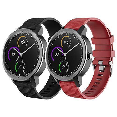 NotoCity para Garmin Vivoactive 3 Correa, Banda de Repuesto de Silicona Suave de 20 mm para Garmin Forerunner 245 / Samsung Gear Sport/Galaxy Watch 42 mm(S,Negro+Rojo)