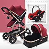 TXTC 3 in 1 Pram Stroller Carriage Foldable Luxury Baby Stroller Anti-Shock Springs High View Pram Baby Stroller with Baby Basket for Newborn and Baby (Color : Red)