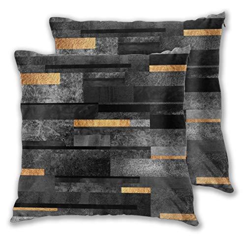 Juego de 2 fundas de cojín, cuadradas, fundas de almohada de 45 x 45 cm, color negro y dorado
