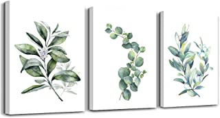 Green Leaves Plants Canvas Wall Art for Living Room Modern Bathroom Wall Decor for Bedroom Kitchen Home Decorations 3 Panel Watercolor Painting Canvas Prints Posters Artwork Office Mural Art Works