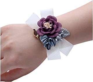 JustMyDress Wedding Wrist Flower Bridesmaid Corsage Silk Ribbon Wristband Bracelet JW71 One Size Purple
