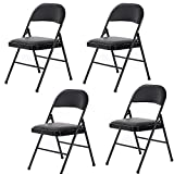 TimmyHouse Folding Chair Fabric Soft Padded Seat Compact Steel Back Strong Dinning Black x 4