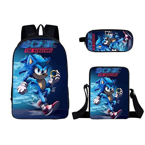 Mochila infantil Sonic8 de 3 piezas, con impresión 3D, con estuche, conformabilidad, ergonomía, juego de mochila escolar para niños (Sonic8)