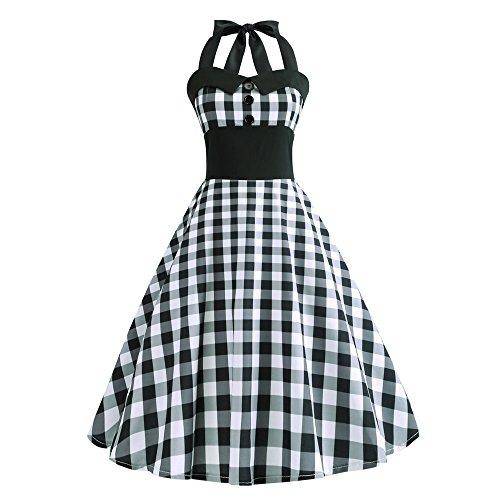 Damen-Kleid, ärmellos, Vintage, bedruckt, figurbetont, ohne Ärmel, für Abendveranstaltungen Gr. M , Schwarz -1