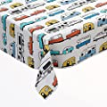 """Camping Picnic Table Cloth with Happy Camper Words Caravans Retro RV Fun Holiday Camping Decor Washable Waterproof Outdoor Tablecloth Rectangle Table Cover (60"""" X 84"""", Camper04) by DPLin"""