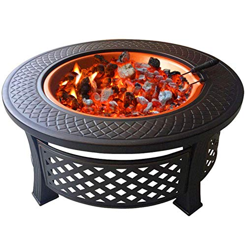 Fire Pit with BBQ Grill Shelf, Outdoor Garden Patio Heater Grill Camping Bowl BBQ with Poker, Grate, Grill with Free Carry Bag with Spark Protection Mesh