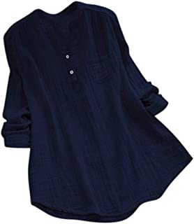 Women's Cotton Pocket Shirts Plus Size Clearance - Iuhan Women Stand Collar Long Sleeve Casual Loose Tunic Tops T Shirt Blouse (XL, Navy)