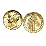 Gold-Layered Mercury Dime Cufflinks | United States Coins | Men's Cufflinks | Genuine Silver Coins
