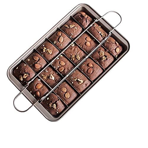 Tianyis Brownie Pan, Bandeja para Hornear Brownie con 18 Divisores, Molde Brownie De Acero Inoxidable 31 * 20 * 4.9cm, Antiadherente Molde para Pastel de Chocolate con Divisores Utensilio de Cocina