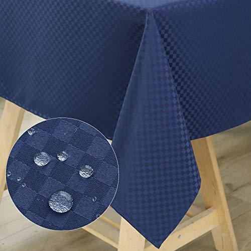 WELTRXE Tischdecke, Tischtuch aus Polyester mit Lotuseffekt Wasserabweisend Abwaschbar Tisch Decke, Tischwäsche Größe & Farbe wählbar 120 × 160 Marineblau
