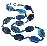 TreasureBay Splendida Collana con Pietre d'Agata Donna (Agata Blu)