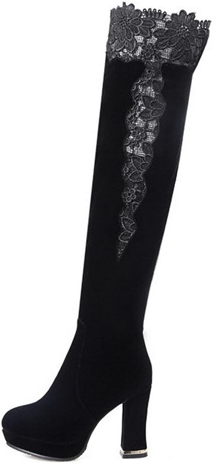 WeenFashion Women's Flock Frosted Round Closed Toe Above-The-Knee Kitten-Heels Boots