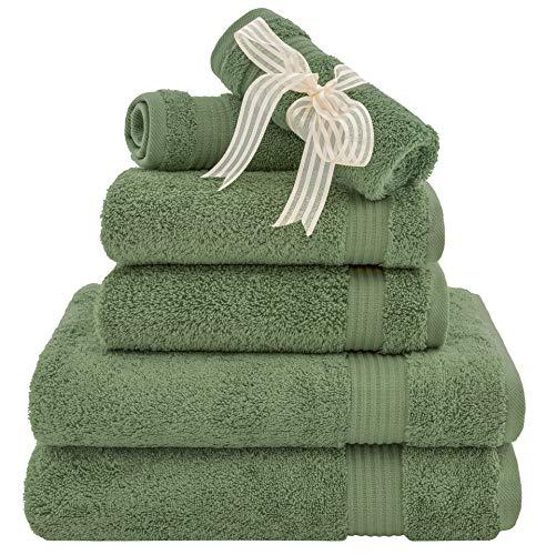Juego de toallas de lujo para hotel y spa, 100% algodón de 6 piezas para máxima suavidad y absorción por American Veteran Toallas