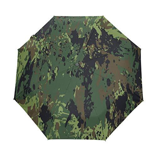 Militärische Ökostrom Regenschirm Auf-Zu Automatik UV-Schutz Taschenschirm Winddichter Umbrella Klein Leicht Schirm Kompakt Schirme für Jungen Mädchen Reise Strand Frauen