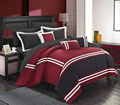 Chic Home Zarah 10 Piece Comforter Set Complete Bed in a Bag Pieced Color Block Banding Bedding with Sheet Set And Decorat...