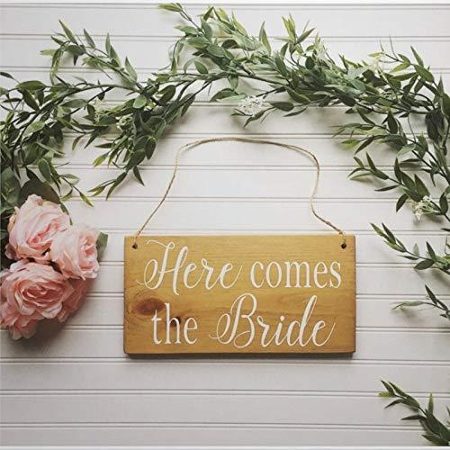 BYRON HOYLE Here Comes The Bride Sign Here Comes The Bride - Señal de madera para anillo de madera, para pared o decoración del hogar