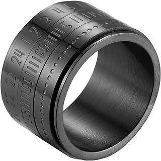 خاتم رجالي من الفولاذ المقاوم للصدأ بعرض 14 مم بأرقام عربية من Oakky أسود فضي ذهبي