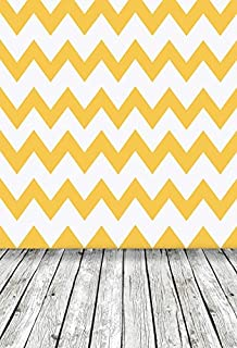 Laeacco Chevron Lines Background 5x7ft Vinyl Photography Background Yellow and White Stripes Wall Background Vintage Wood Floor Scene Children Adult Portrait Backdrops Studio