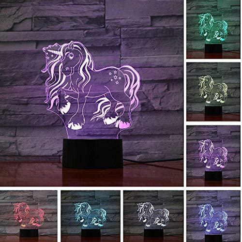 JJIEZZ Escultura de luz Nocturna 3D 7 Cambio de Color Lámpara de Escritorio de Mesa táctil/Control Remoto Decoración 06_Toque 7color_Federación Rusa