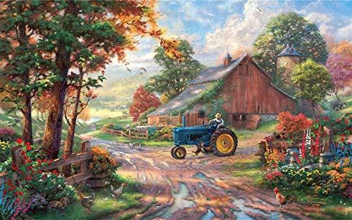 Erwachsene Holzpuzzle 500 weltberühmte Gemälde schöne Landschaft Ölgemälde Bauer und Hund-53x38cm