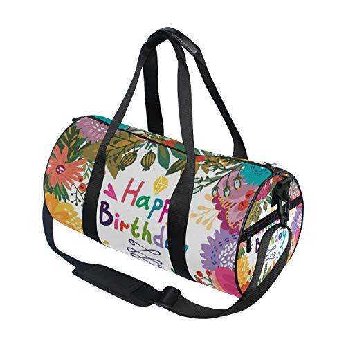 Jeansame Gelukkig Verjaardag Bloemen Ballonnen Gym Bag Reizen Sport Duffel Tassen Tote Holdall Tas voor Vrouwen Mannen Kid Jongen Meisje