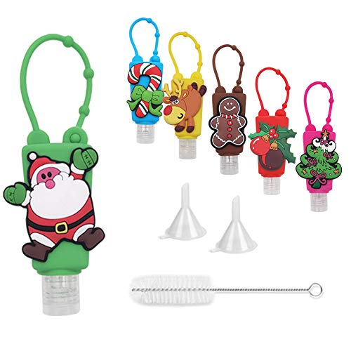 Travel Size Hand Sanitizer Holder Keychain (6 Pack), 1oz Kids Christmas Lotions Leakproof Empty Bottle, Squeeze Refillable Bottle with Cartoon Silicone Holder for Hand Sanitizer
