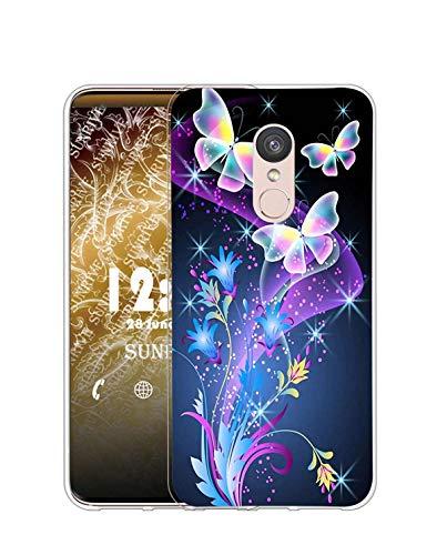Sunrive Kompatibel mit Wiko WIM Lite Hülle Silikon, Transparent Handyhülle Schutzhülle Etui Hülle (Q Schmetterling 2)+Gratis Universal Eingabestift MEHRWEG